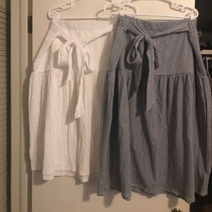 2 New With Tags Gap Crinkle Skirts w/ Tie Waists